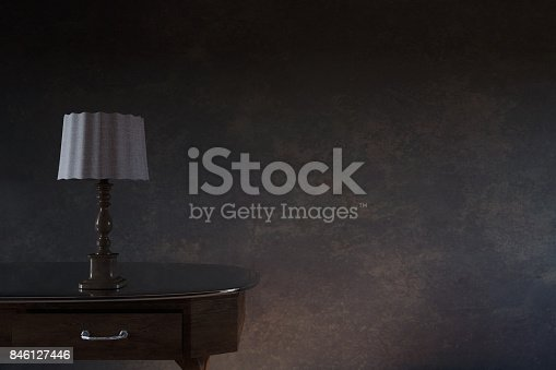 3d rendering of wooden bedside table in front of grunge wall