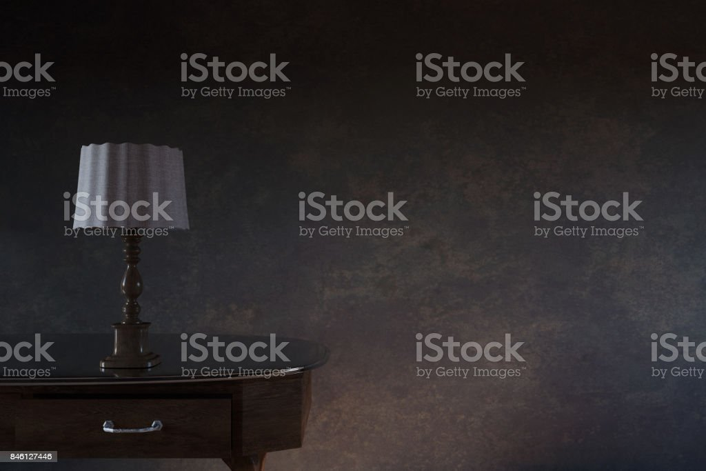 3d rendering of wooden bedside table in front of grunge wall stock photo