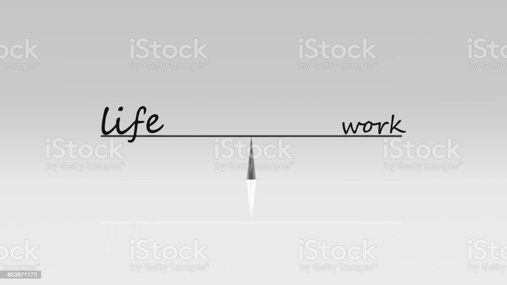 3d rendering of work life balance, business work life concept stock photo