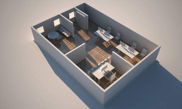 3d rendering office - advertising isometric stock photos and pictures