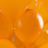 3d rendering orange balloons