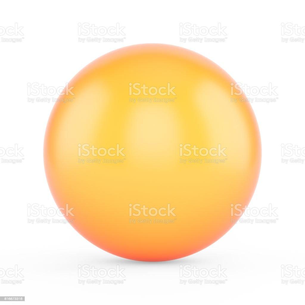 3d rendering orange sphere on white background stock photo