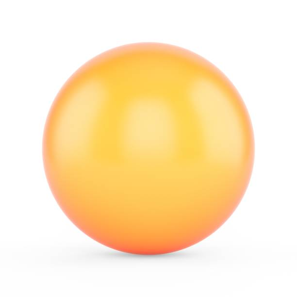 3d rendering orange sphere on white background - sphere stock pictures, royalty-free photos & images