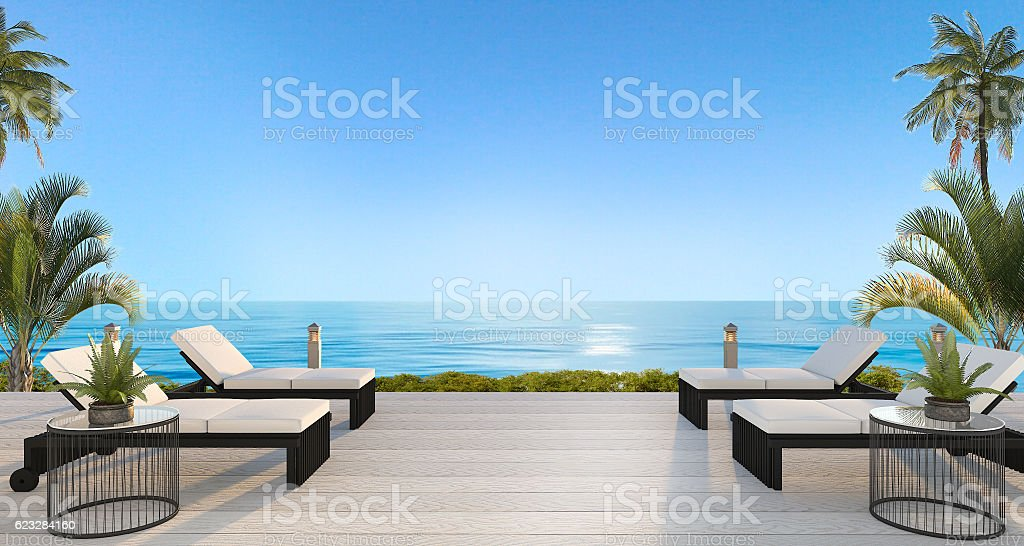 3d rendering outdoor beach bed near beach with beautiful sky stock photo