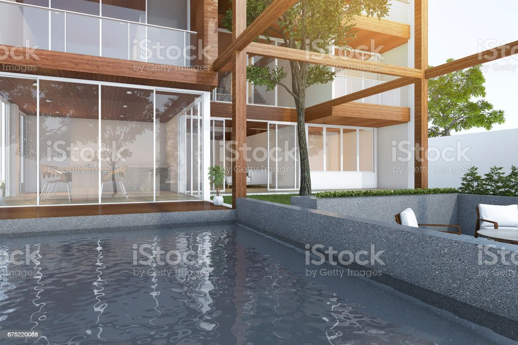 3d rendering outdoor pool near wood modern building and tree royalty-free stock photo