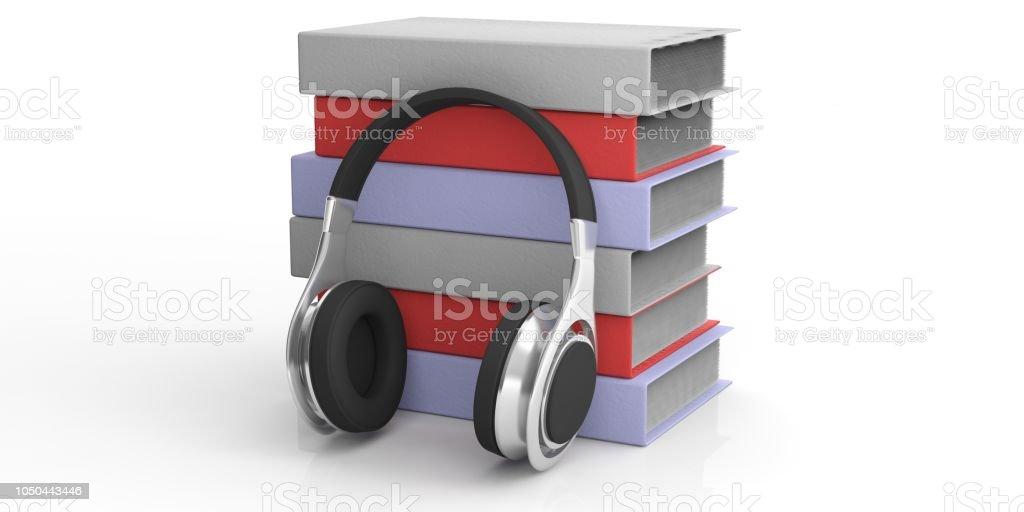 par de renderização 3D de livros de áudio e fones de ouvido sem fio - foto de acervo