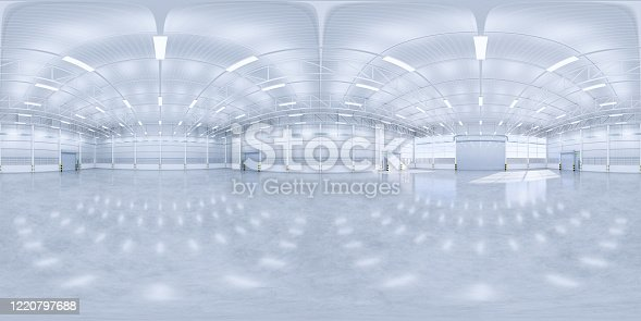 3d rendering of panorama of empty hangar and concrete floor and shutter door, clean and new condition.
