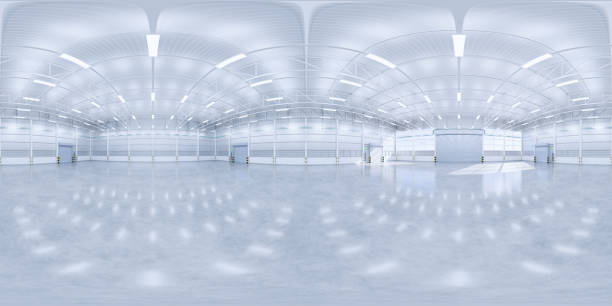 3d rendering panorama hangar 3d rendering of panorama of empty hangar and concrete floor and shutter door, clean and new condition. 360 degree view stock pictures, royalty-free photos & images
