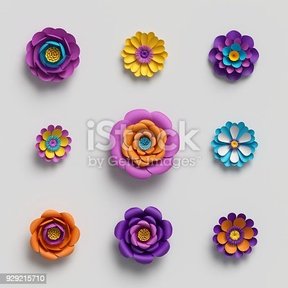 istock 3d rendering, paper art, decorative flowers, floral background, botanical pattern, vivid candy colors, vibrant palette, isolated design elements 929215710