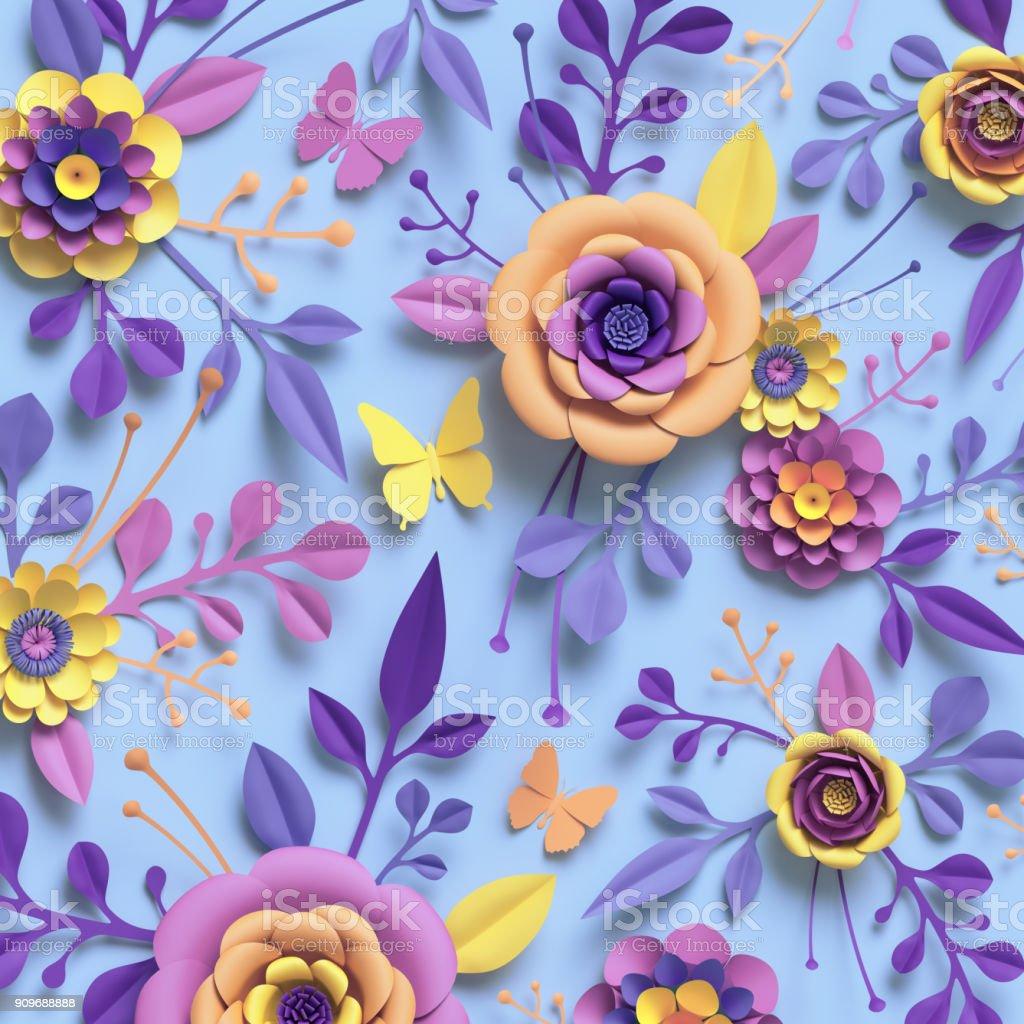 3d Rendering Paper Art Rose Flowers Floral Pattern Botanical