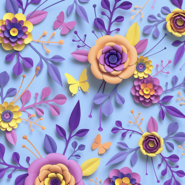 3d-rendering, papierkunst, rose, blumen, blumenmuster, botanischen hintergrund, pastell rosa und gelb blau - do it yourself invitations stock-fotos und bilder