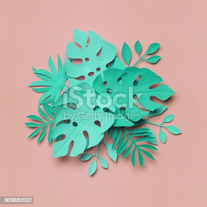 istock 3d rendering, paper art, tropical palm leaves, botanical background, pastel colors, tropical nature, foliage 909683502