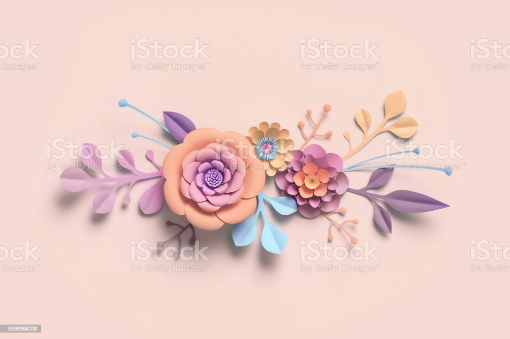 3d rendering, paper flowers, pastel color palette, botanical background, isolated clip art, bouquet, floral border stock photo