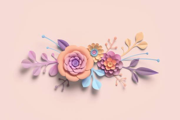 3d-rendering, papierblumen, pastelligen farbpalette, botanischen hintergrund, isolierte clipart, blumenstrauß, blumen grenze - schild mode stock-fotos und bilder