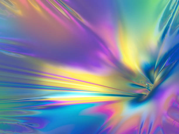 3d rendering, pastel holographic foil, abstract rainbow background, vibrant metallic texture, fashion surface, reflection, texture - swirl pattern stock pictures, royalty-free photos & images
