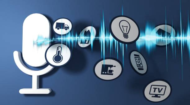 3d rendering pictogram voice recognition system of blue ground stock photo