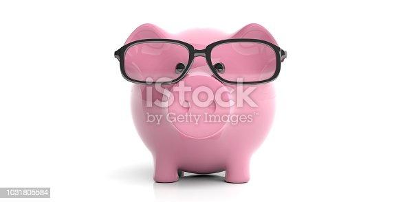 istock 3d rendering piggy bank wearing eyeglasses 1031805584
