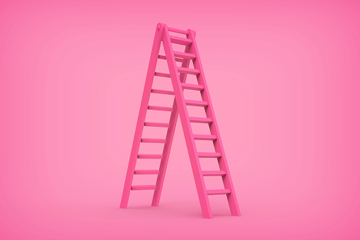 3d rendering pink color ladder concept stock photo