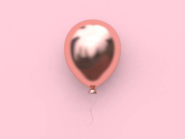 3d rendering pink metallic rose gold reflection balloon abstract minimal pink background christmas holiday new year concept stock photo