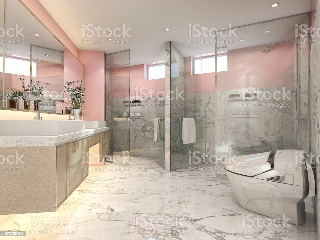 3d Render Rosa Vintage Cuarto De Baño Moderno Con Una ...
