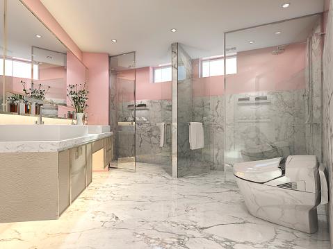 rendering pink modern vintage bathroom  luxury tile