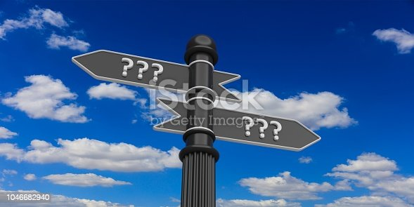 954712506istockphoto 3d rendering pointers with question mark on a signpost 1046682940