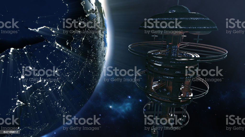 3d rendering. Powerful spacestation. stock photo