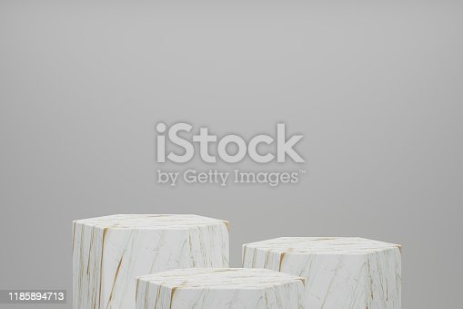 istock 3d rendering Product stand, Pedestal, Hexagon Shape, Mable texture 1185894713