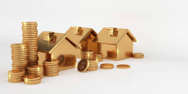 3d rendering real estate symbol and money stack stock photo