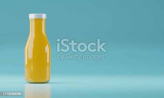 istock 3d rendering realistic Glass bottle of Juice and Brand concept stock illustration copy space on emerald blue background. 1173293295