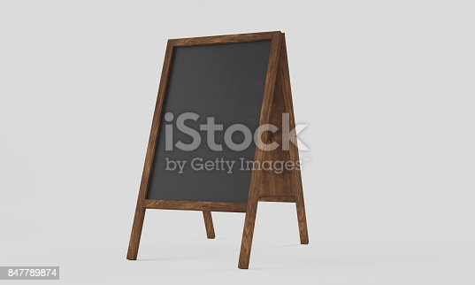 istock 3d rendering Realistic menu announcement board icon set isolated on white background. Clean restaurant outdoor blackboard background. Mockup of chalkboard for restaurant menu. 847789874