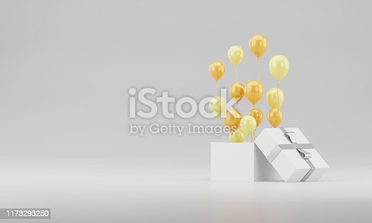 istock 3d rendering realistic Open gift box with balloons copy space stock illustration on white background. 1173293250