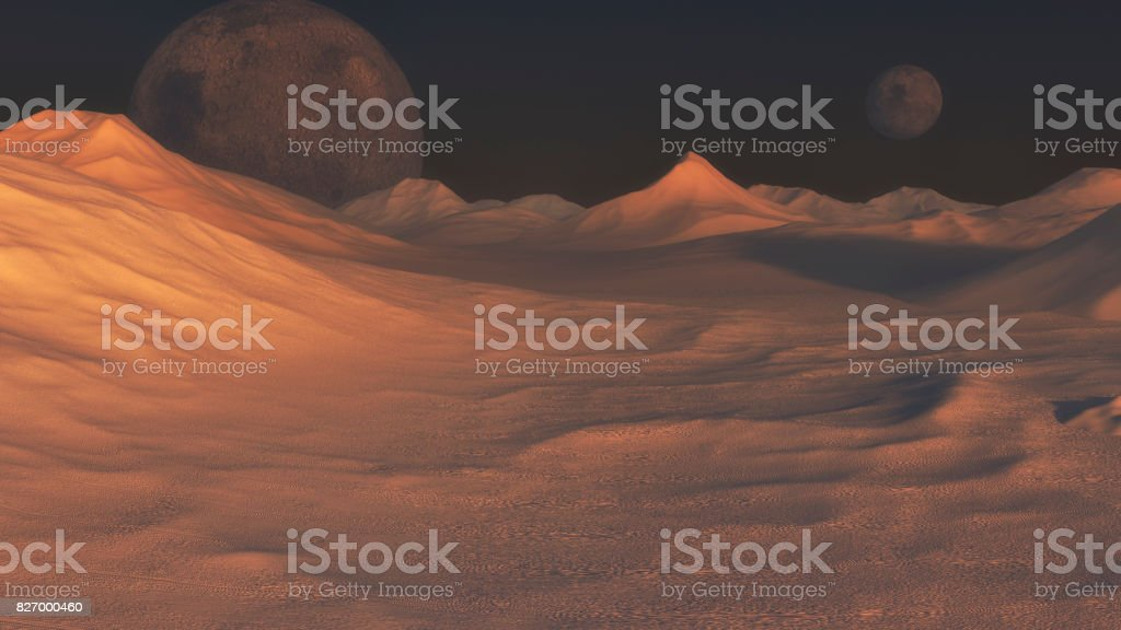 3d rendering. Red planet and distant planet stock photo