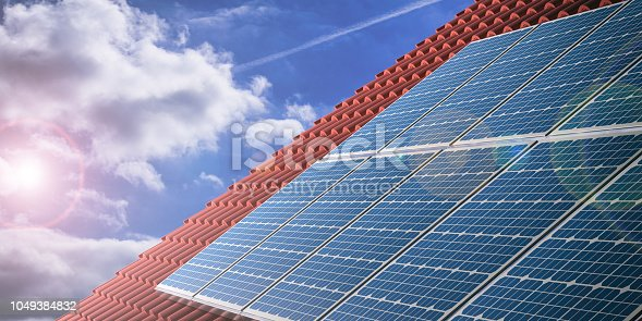 3d rendering red roof tiles with solar panels