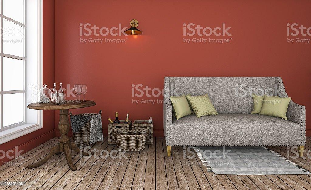 3drendering Rote Wand Wohnzimmer Mit Guter Charakteristischen Möbel ...
