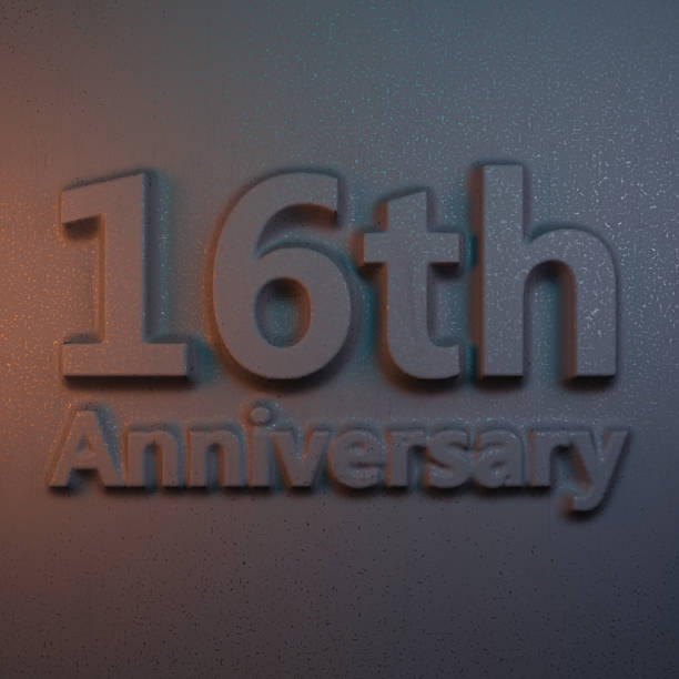 3d rendering relievo anniversary - number 16 stock photos and pictures