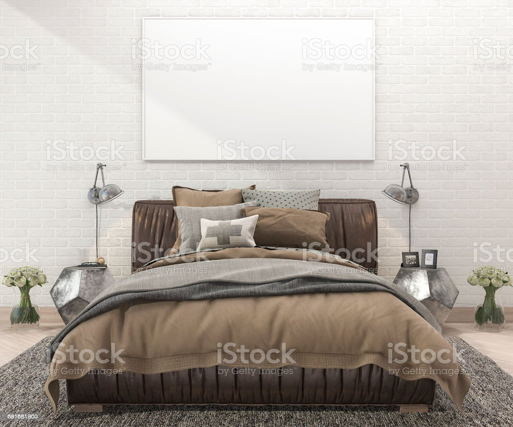 3d rendering retro brown bed in bedroom with brick wall and carpet stock image