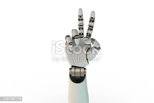 3d rendering robotic hand victory sign. stock photo