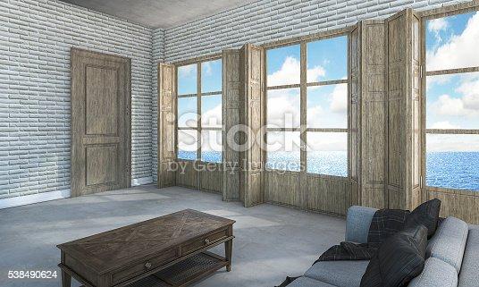 istock 3d rendering room in villa near the sea 538490624