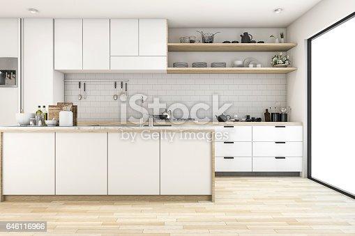 istock 3d rendering scandinavian kitchen with white tone design 646116966