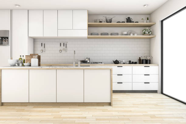 3d rendering scandinavian kitchen with white tone design - domestic kitchen stock photos and pictures