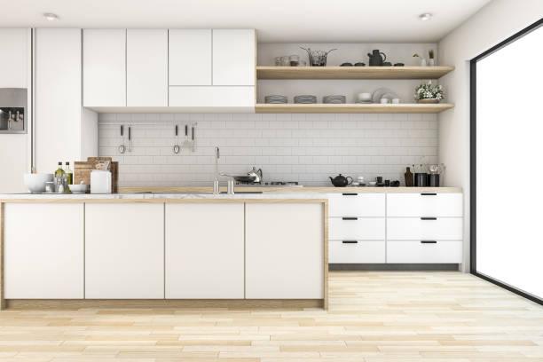 3d rendering skandinavische küche mit weißen ton-design - kücheneinrichtung zubehör stock-fotos und bilder