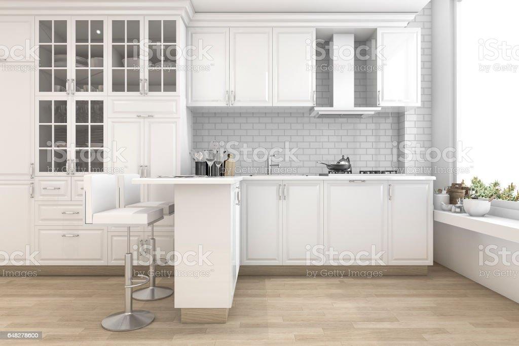 Keuken Bar Muur : D rendering scandinavische stijl keuken met bar stockfoto en meer