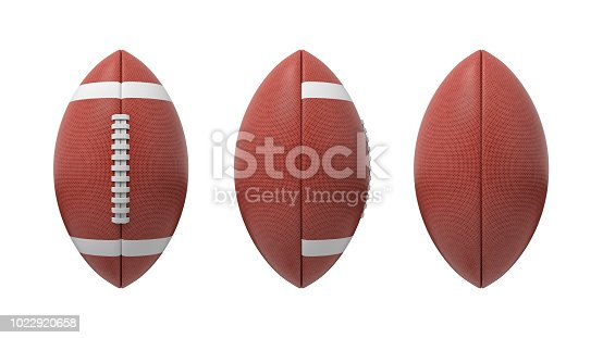 istock 3d rendering set of oval American football ball isolated on a white background 1022920658