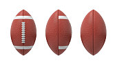3d rendering set of oval American football ball isolated on a white background