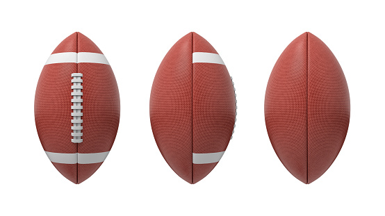 3d Rendering Set Of Oval American Football Ball Isolated On A White Background — стоковые фотографии и другие картинки Американская культура
