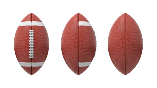 3d rendering set of oval American football ball isolated on a white background 3d rendering set of oval American football ball isolated on a white background. Sport and recreation. Ball games. Athletic career. medium group of objects stock pictures, royalty-free photos & images