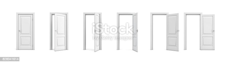 istock 3d rendering set of white wooden doors in different stages of opening 828341614