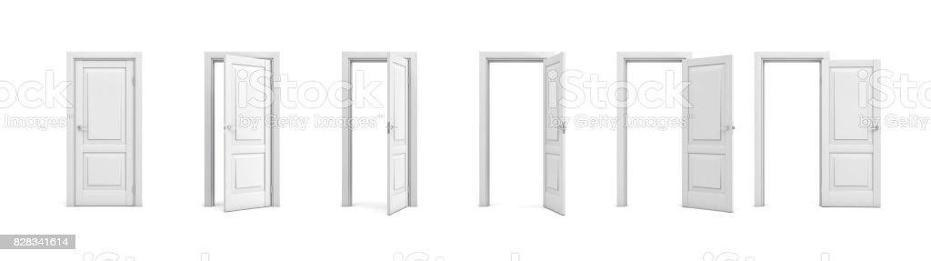 3d rendering set of white wooden doors in different stages of opening stock photo