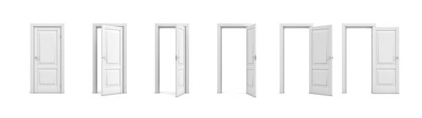 3d rendering set of white wooden doors in different stages of opening - porta foto e immagini stock